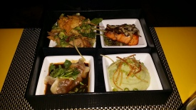 Peking duck salad, salmon teriyaki, beef dumplings and wasabi mashed potatoes